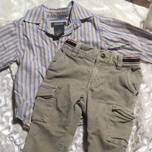 18mo Kenneth Cole Reaction Button Up+Cargo Cords